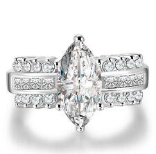 Women 925 Silver Jewelry Marquise Cut White Sapphire Elegant Wedding Ring Size 6