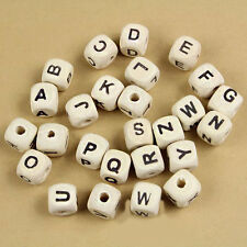 """White 50Pcs Mixed A-Z Alphabet Letter Dice Cube Wood Beads 10x10mm(3/8""""x3/8"""")"""