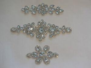 Bridal-wedding-rhinestones-applique-Sew-on-beaded-motif-craft-diamante-applique