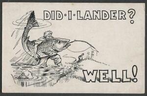 Lander-WY-c-1910-20-Cartoon-Postcard-by-SCOTT-DID-I-LANDER-WELL-Big-Fish