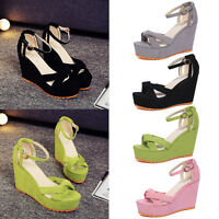 Womens High Wedge Heel Platform Sandals Ankle Strap Peep Toe Summer Shoes Size