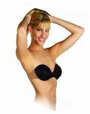Backless & Strapless Underwire Push Up Bra w/ Adhesive Clear Wing - White - A