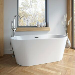 1685mm Modern Freestanding Bath Double Ended Overflow Waste White Acrylic Luxury