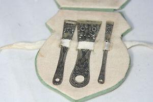 Rare-Antique-c1900-039-s-STERLING-SILVER-BODKIN-Ribbon-THREADER-SET