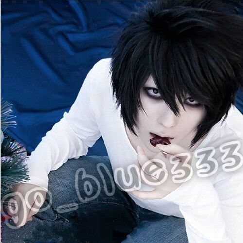 TT1006 DEATH NOTE L·Lawliet Short Layered Black Cosplay Anime Hair Wig