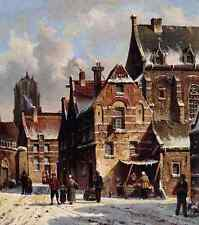 Eversen Adrianus Figures In The Streets Of A Wintry Town A4 Print