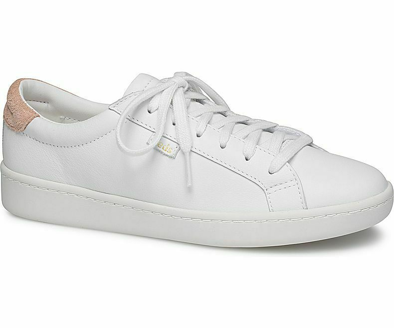 Keds WH58548 Women's Ace Leather White Coral shoes, 6 Med