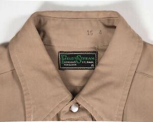VTG 30s 40s FIELD STREAM GABARDINE WESTERN WORK WEAR SHIRT BROWN MILITARY M USA