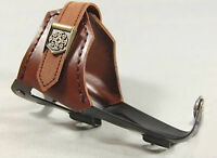 N+1 Brown Leather Bicycle Bike Water Bottle Cage Holder Aluminum Alloy Mit
