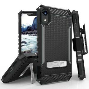 For-Apple-iPhone-XR-Tri-Shield-Shockproof-Belt-Clip-Holster-Kickstand-Phone-Case