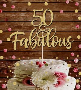 Incredible 50 And Fabulous Glitter Cake Topper 50Th Birthday Party Funny Birthday Cards Online Overcheapnameinfo