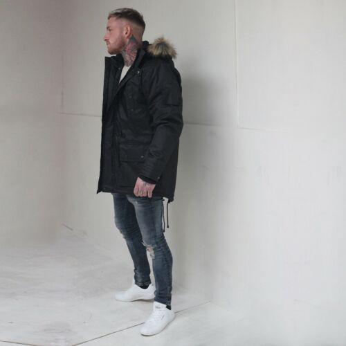 Olive Navy Black D-Rock Men/'s Fishtail Parka Fur Trim Hooded Winter Jacket