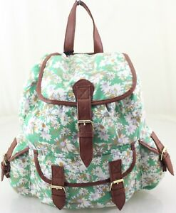 a9c516afdd Image is loading Ladies-Girls-Green-Canvas-Rucksack-Backpack-School-Bag-