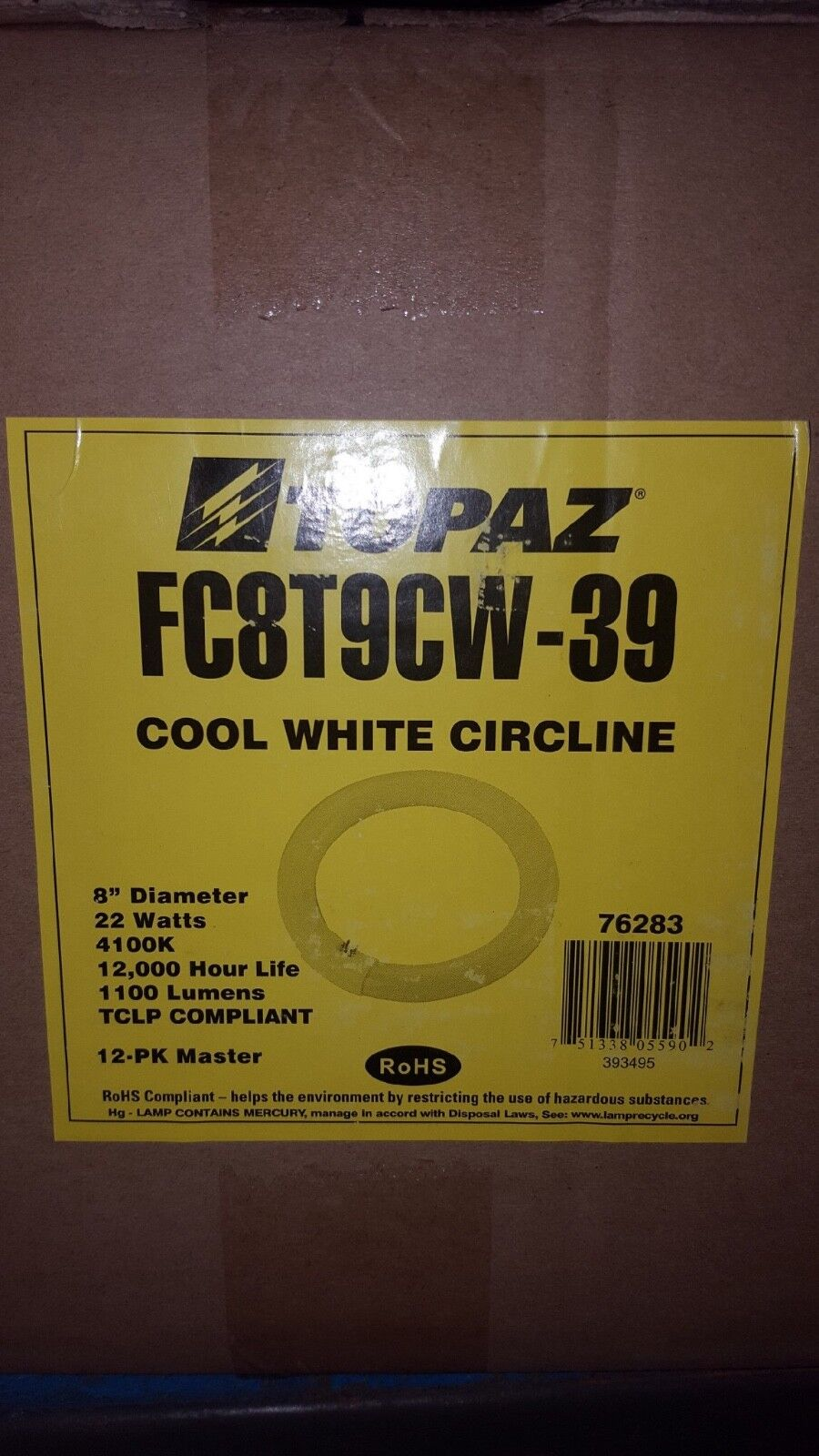 ( lot of 12) New in Box Topaz Fluorescent circline lamp 8  cool white 4100 k