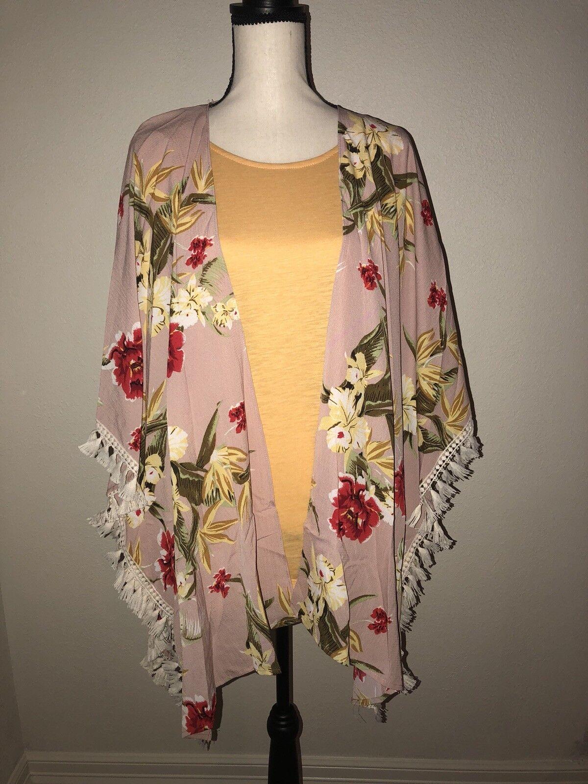 NWT Boutique Umgee Tassel Trim Kimono - Floral - S M
