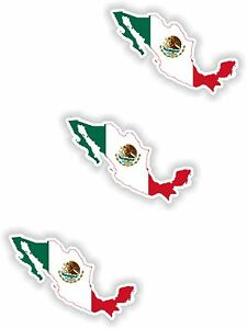 3x Mexico Map Flag Stickers Silhouette With Flag For Helmet Hard Hat