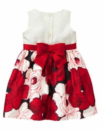 NWT Gymboree Royal RED Floral Flower Duppioni Dress Toddler Christmas Holiday