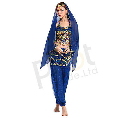 Sexy Belly Dance Costume Beads Bells Top+Shinny Sequin Balloon Bloomers trouser