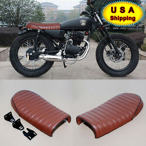 Image Is Loading Brown HONDA Flat Brat Universal Cafe Racer Seat