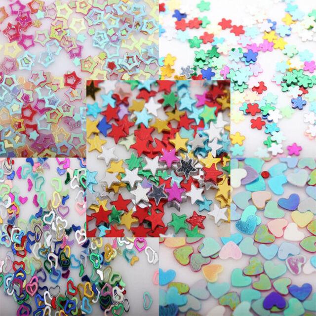 5000Pcs 3mm DIY Mixed Glitter Heart Star Flower Sequins Stickers Decals Nail Art