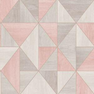 Details Sur Sommet Bois Grain Papier Peint Geometrique Dore Rose Gris Fine Decor Fd42224