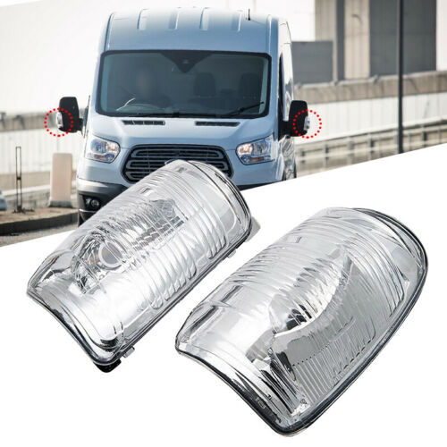 LEFT/&RIG Wing Mirror Indicator Lens Cover Clear For Ford Transit MK8 2014 Onward