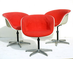 Image Is Loading CHARLES EAMES 3 Shell Chairs Herman Miller Fiberglass