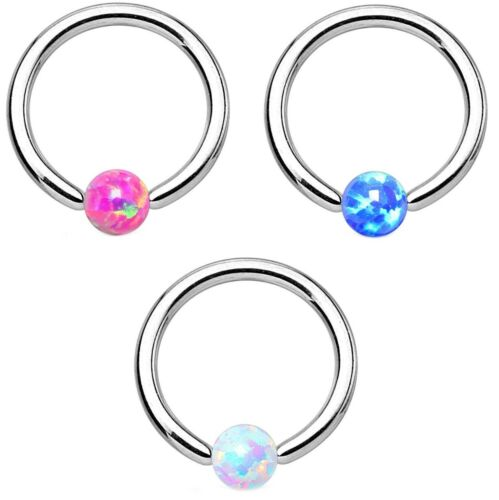 SYNTHETIC-OPAL COLOR CBR CAPTIVE BEAD RING TRAGUS HELIX CARTILAGE EAR PIERCING