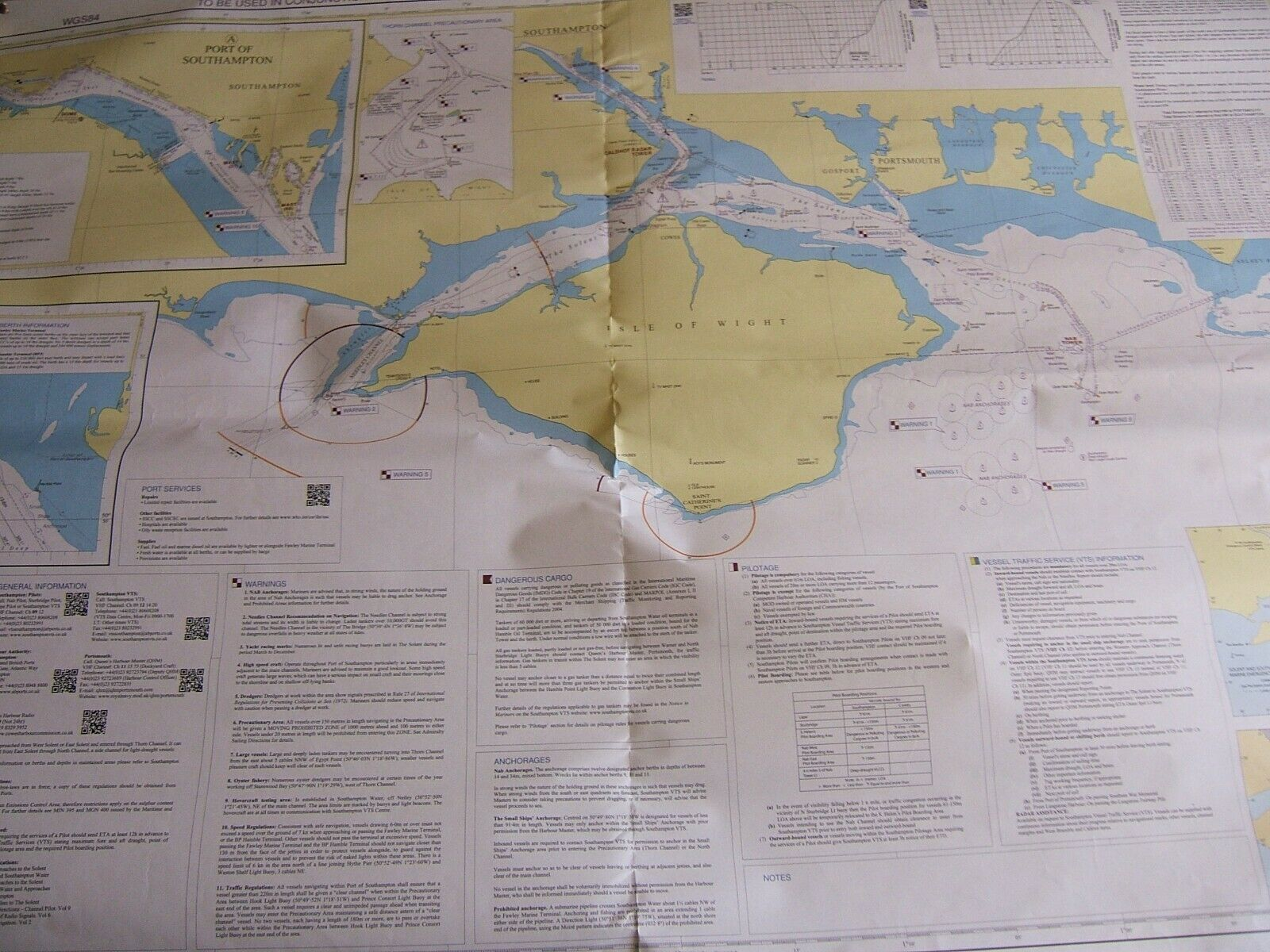 LARGE ADMIRALTY CHART 8002 'THE SOLENT'. PORT APPROACH GUIDE TO SOUTHAMPTON