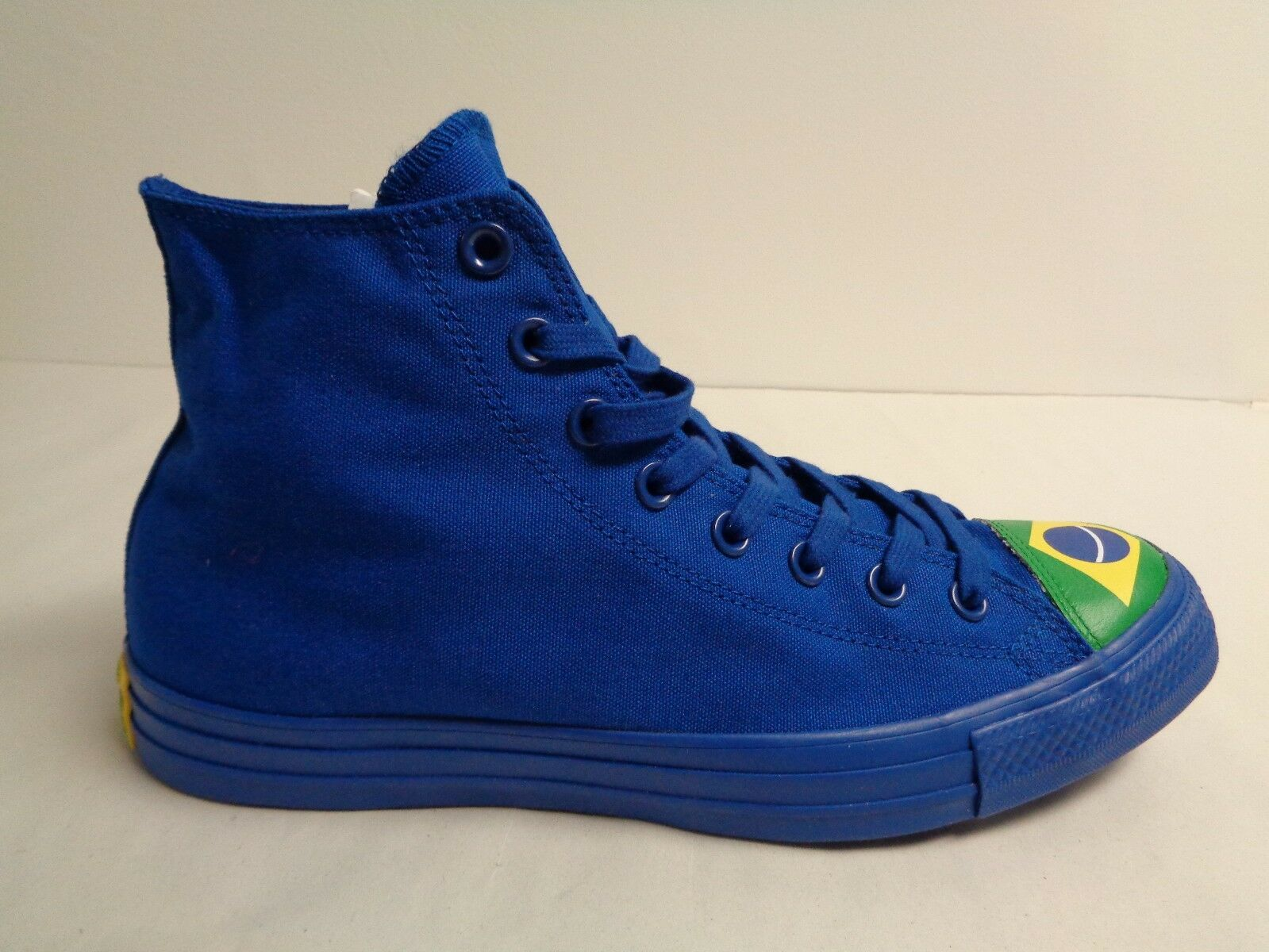 Converse Size 12 Mens CTAS HI bluee bluee bluee Green Brazil Flag Sneakers New Unisex shoes 57cb6c