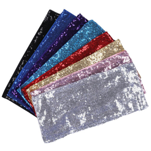 10//25//50//100pcs Spandex Sequin Chair Sashes Bow Band Cover Wedding Party Banquet