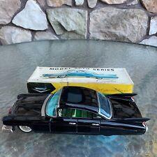 1959 CADILLAC BLACK SEDAN TOY CAR w/ ORIGINAL BOX, BANDAI JAPAN, FRICTION WORKS