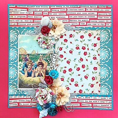 Handmade Vintage Wood Frame Patina Collage 12x12 Premade Scrapbook Layout Page