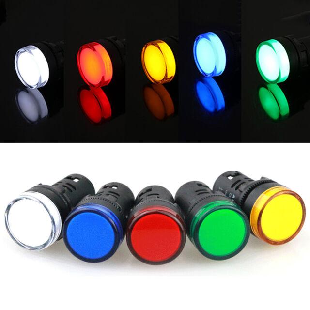 22mm 12//24//110//220V Panel Mount LED Power Indicator Signal Light Lamp 5 Colors