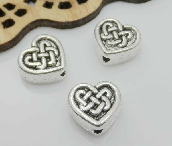 30/150Pcs Tibetan Silver Heart Spacer Beads Fit Jewelry Making 2 Size Free Ship