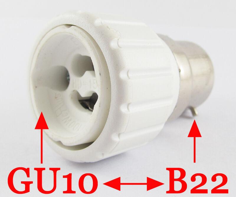 50x B22 Macho a Hembra GU10 LED de luz Halógena CFL base de Zócalo Bombilla Lámpara Adaptador