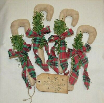 ~12 Primitive STRIPED HOMESPUN Fabric Candy Canes Christmas Ornaments Farmhouse