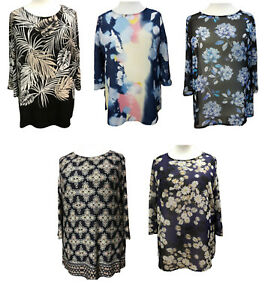 Plus-Size-Printed-Tunic-Tops-3-4-sleeves-Boat-neckline-Summer-Blouses-size-to-36