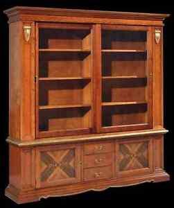Libreria ufficio classica intarsiata ante scorrevoli ebay for Libreria ufficio