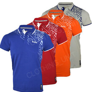 Mens-Crosshatch-039-Fadelast-039-Short-Sleeved-Cotton-Printed-Pique-Polo-T-Shirt