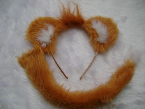 Junior Simba Lion Ears And Tail Set With Mini Mane Gold Faux Fur Fancy Dress