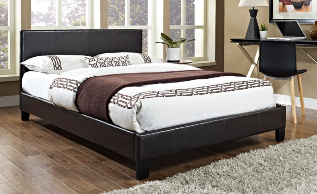 4FT6 Faux Leather Double Bed Frame 3FT Single 5FT King Black Brown and Mattress