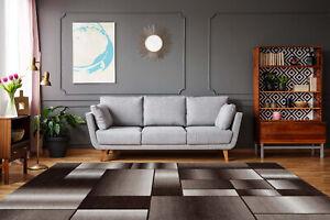 Detalles de Alfombra Alfombrilla Moderno Efecto 3D Patchwork-Muster  Marrón/Beige Salón