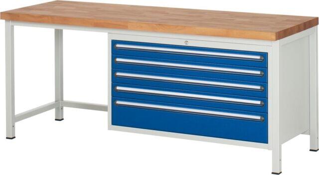 RAU Werkbank BxTxH 2000x700x840 5 Schubladen 2x90/3x120 Arbeitsplatte