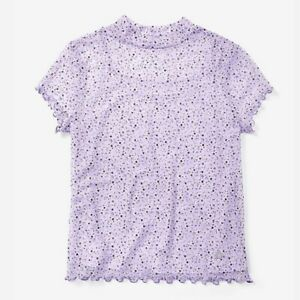 Justice-Floral-Print-Lavender-Mesh-Top-Blouse-Attached-Cami-Girls-Size-8