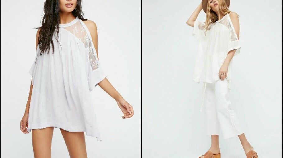 Free People Beachy and Peachy Tunic Small Weiß Versatile Top Dress Cover Up