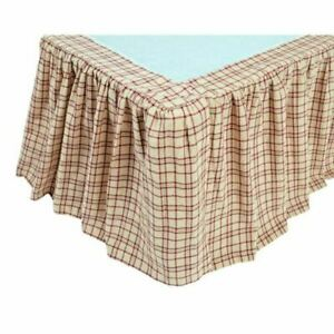 TACOMA Queen Bed Skirt Dust Ruffle Red//Creme//Green Plaid Cotton Lodge VHC Brands