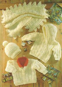 Baby-Cardigan-Jacket-Hood-Hat-Blanket-Basketweave-Aran-16-034-22-034-Knitting-Pattern