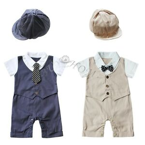 162e8d7c7700 Baby Boy Wedding Formal Tuxedo Suit Gentleman Romper Outfit + Hat 2 ...