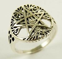 Sterling Silver Pentagram Tree Of Life Ring Goth Thumb & Finger Ladies Mens